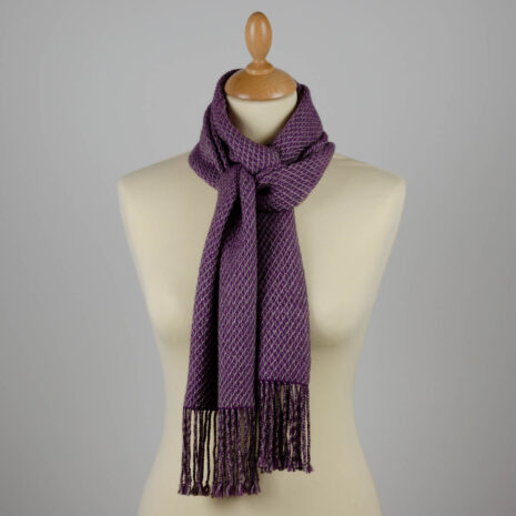 Naturally Warm scarf in purple and grey